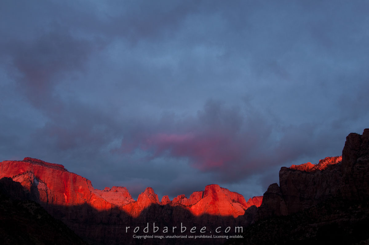 Barbee_111106_3_4698 |  A dramatic sunrise at the Towers of the Virgin, Zion National Park, UT
