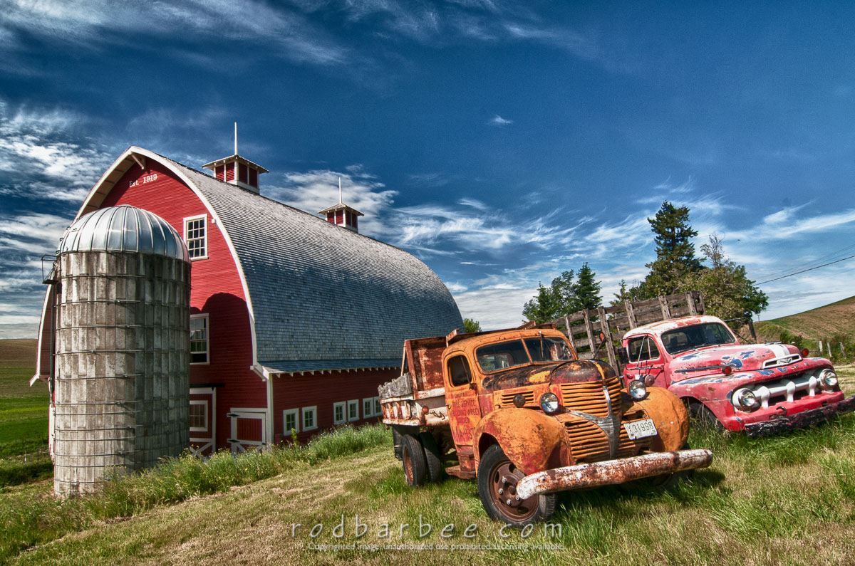 Barbee_120619_3_5865_HDR |  Old trucks near red barn outside of Colfax, WA - HDR image