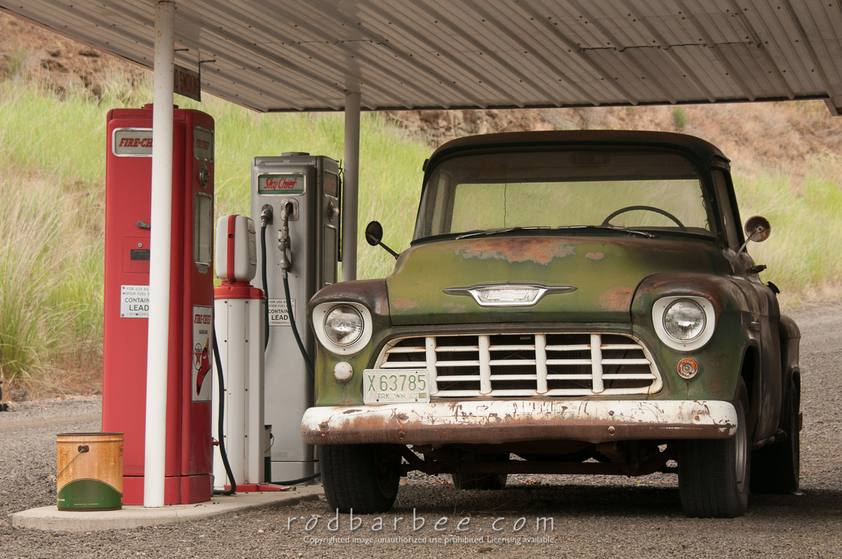 Barbee_120623_3_6296 |  Tom Hennigar's displays of a gas station and old trucks.