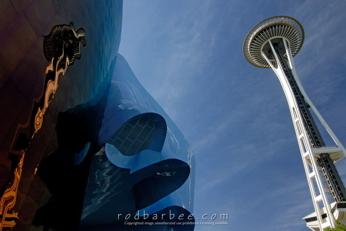 Barbee_060629_2_1353 |  Space Needle and its reflection on the wall of The Experience Music Project