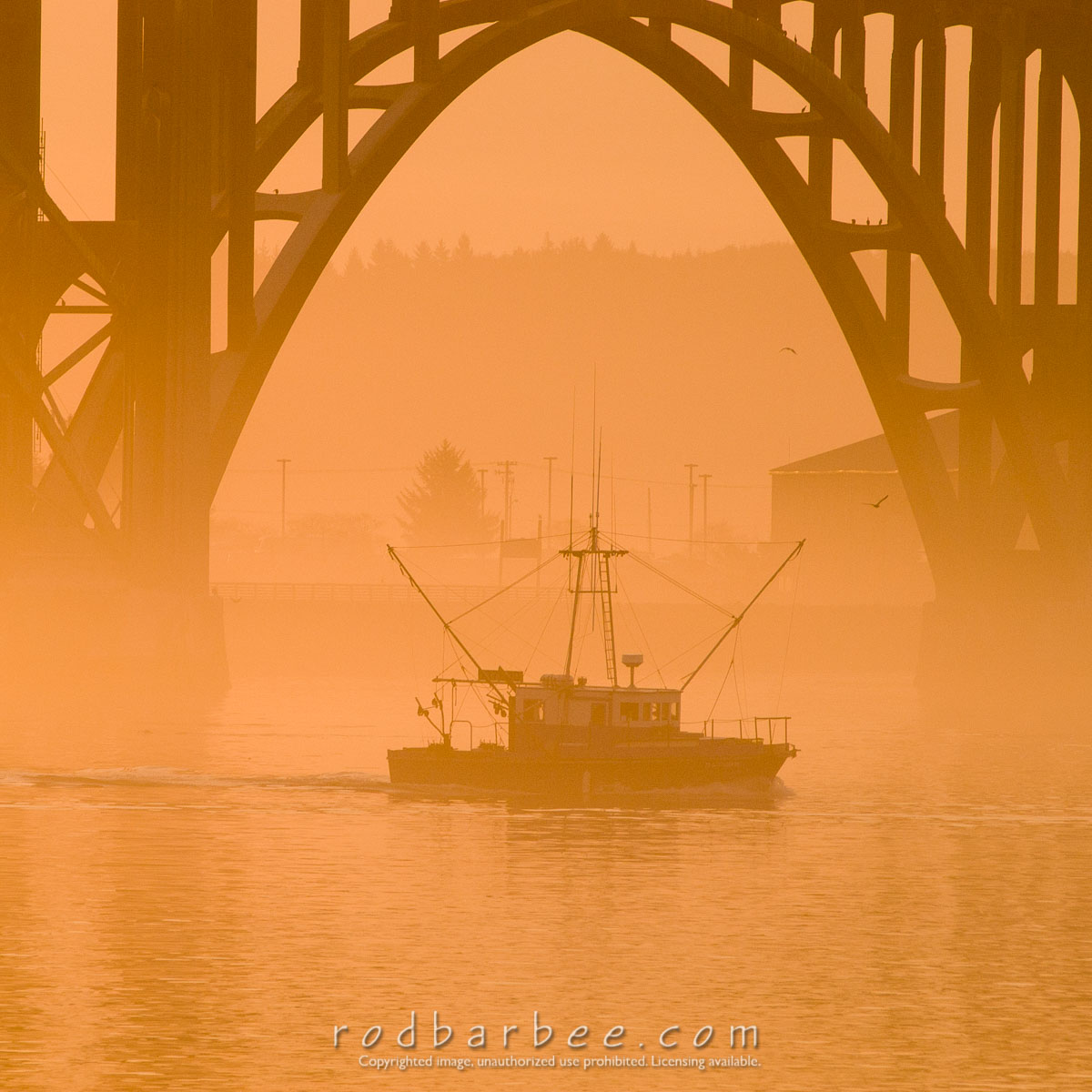Barbee_030903_1_8023 |  Fishing boat heading out on a foggy morning at sunrise under the Yaquina Bay Bridge