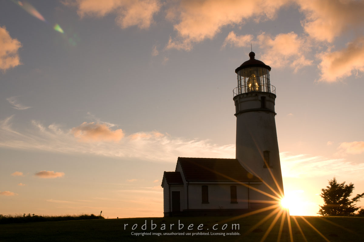 Barbee_100528_3_3517 |  Cape Blanco Lighthouse silhouette, sunset.