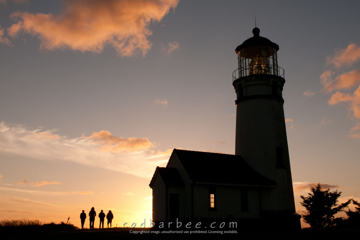Barbee_100528_3_3527 |  Cape Blanco Lighthouse silhouette, sunset.